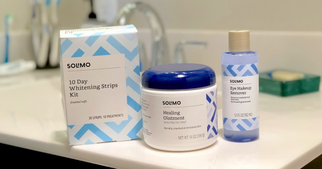 various Solimo Amazon personal care products sitting on bathroom counter