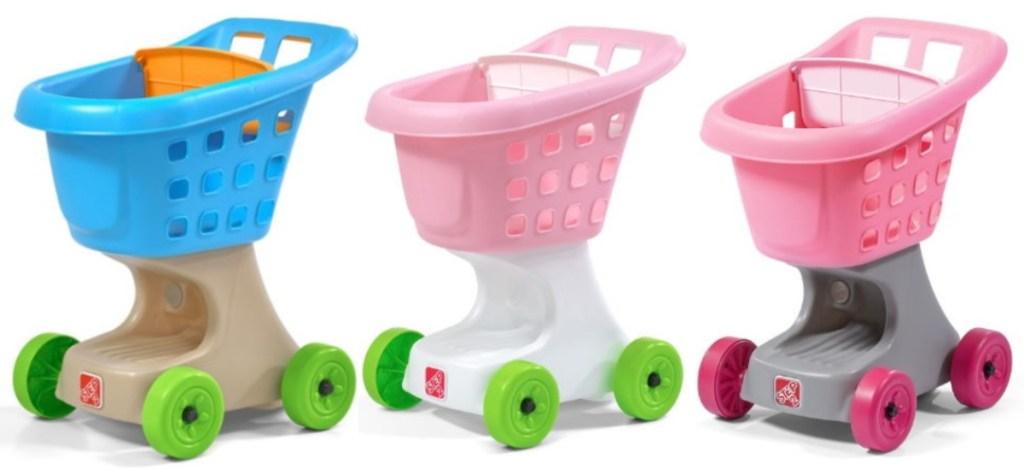 three Step 2 shopping carts