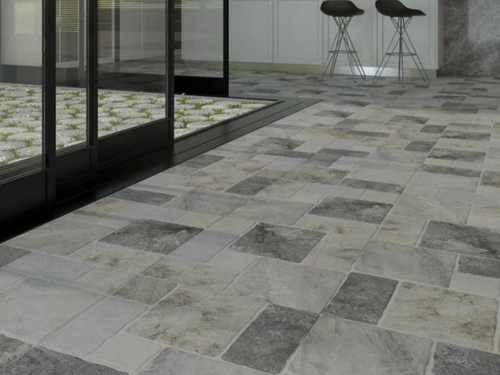 bathroom with elegant tile