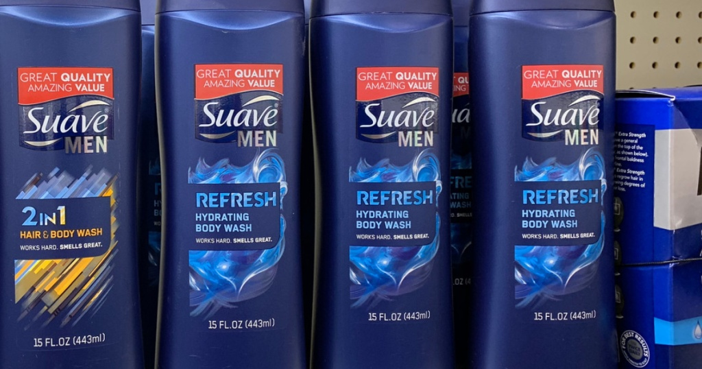 suave men's refresh body wash on store shelf