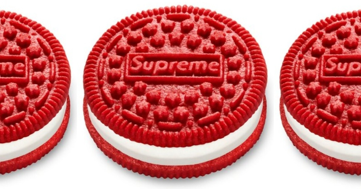 3 red OREOs stamped with the word Supreme