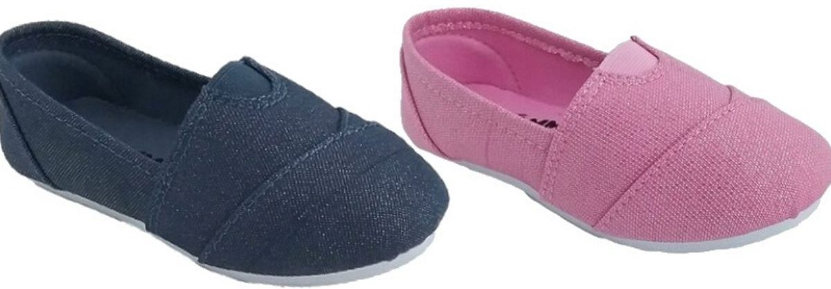 two right foot side view of kids slip on shoes