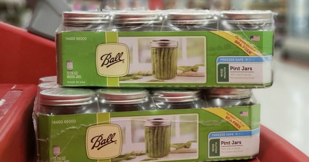 canning jars on display in a store