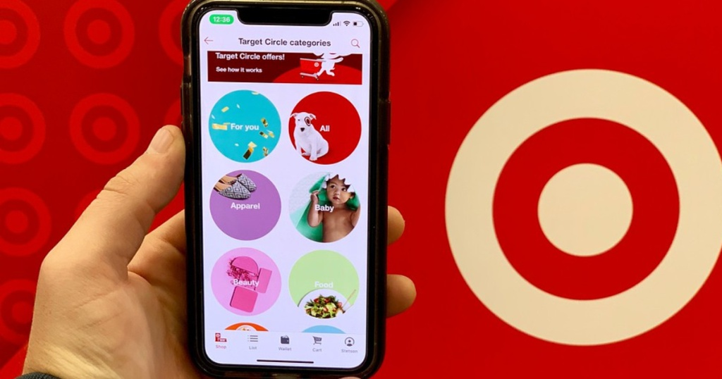 hand holding a phone with Target circle offers