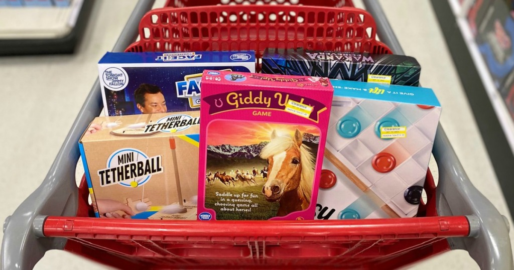 clearance games in a store shopping cart