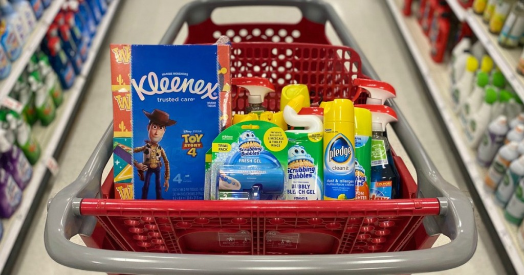 tissues and cleaning supplies in a store shopping cart