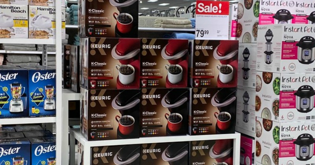 store display of single-serve coffee makers