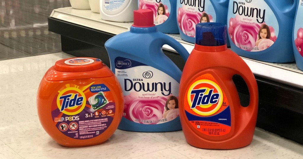 laundry detergent and fabric softener on display in a store