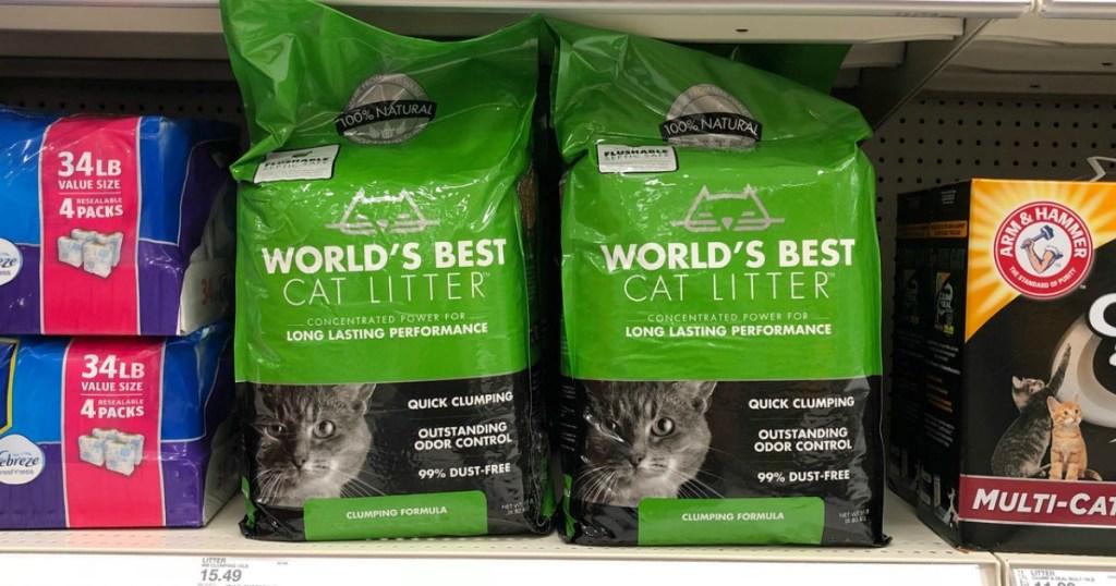 cat litter on a store shelf
