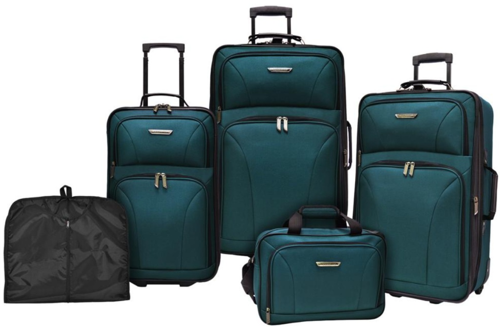 5 pieces of teal luggage