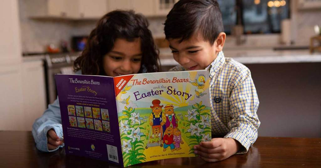 boy and girl reading The Berenstain Bears and the Easter Story: Stickers Included