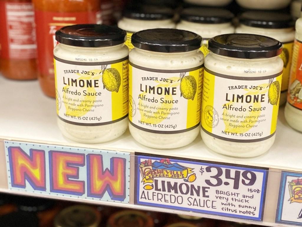 Limone Alfredo sauce on the shelf at Trader Joe's