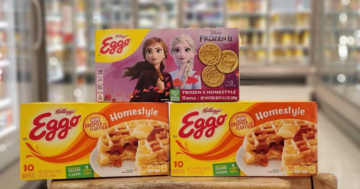 three boxes of Eggo waffles and pancakes at target