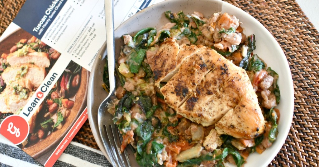 tuscan chicken breast meal on a plate from Gobble