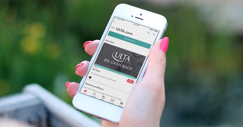 hand using smartphone with ibotta ulta offer