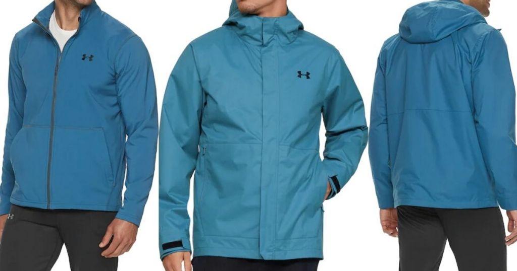 alternative views of men's torso wearing 3 piece jacket system