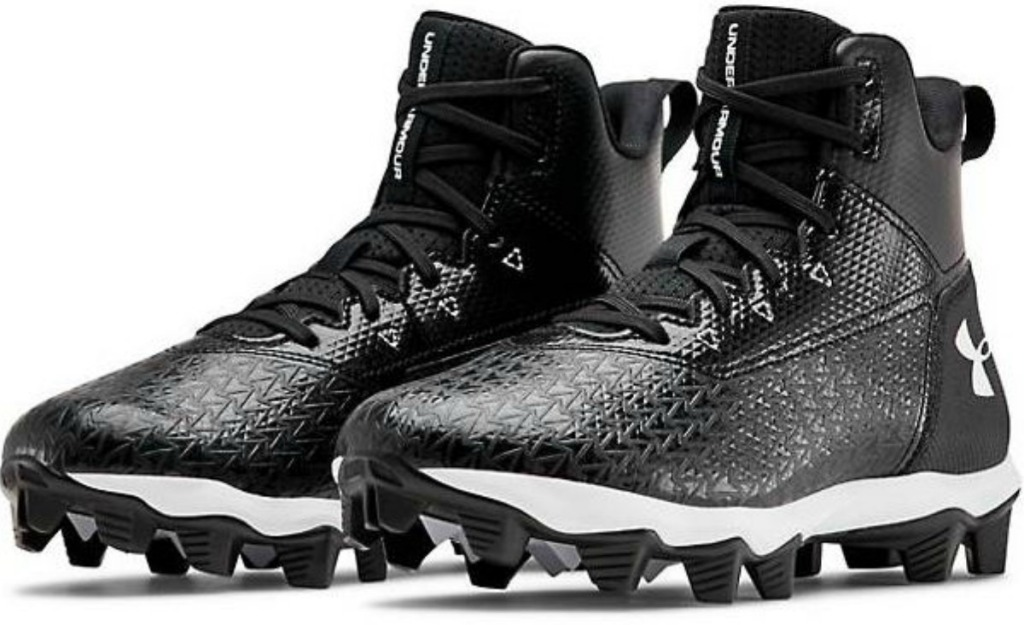 pair of black shoes with cleats