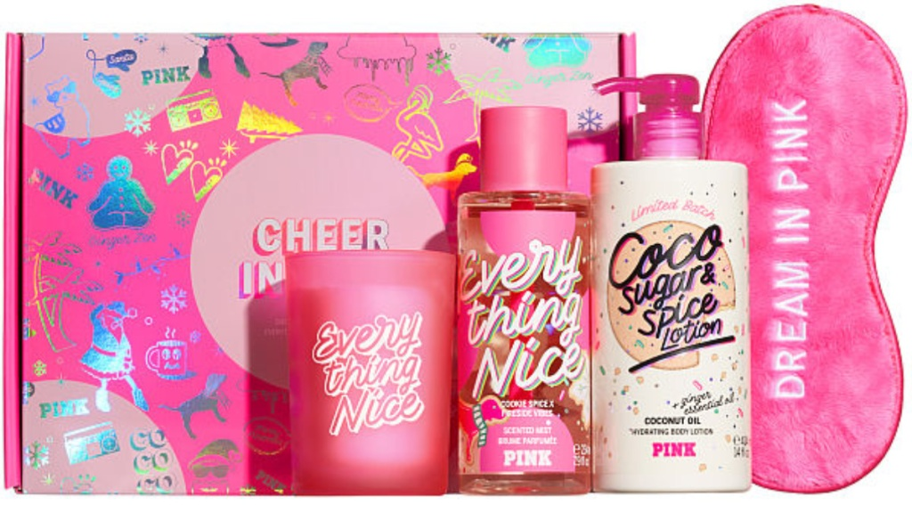 cheer in here box with lotions, candle, mist and dream in pink sleep mask