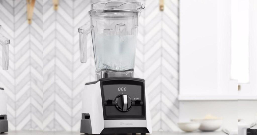 white vitamix blender sitting on counter in kitchen