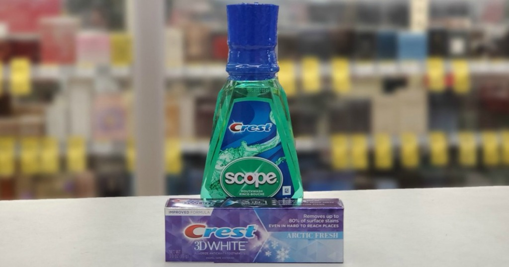 toothpaste and mouthwash on display in a store