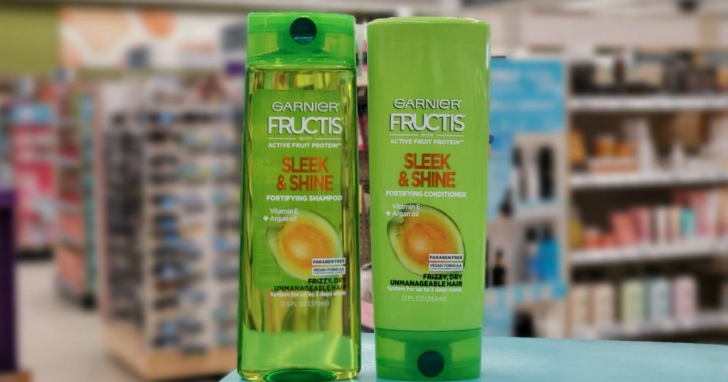 shampoo and conditioner on display in a store