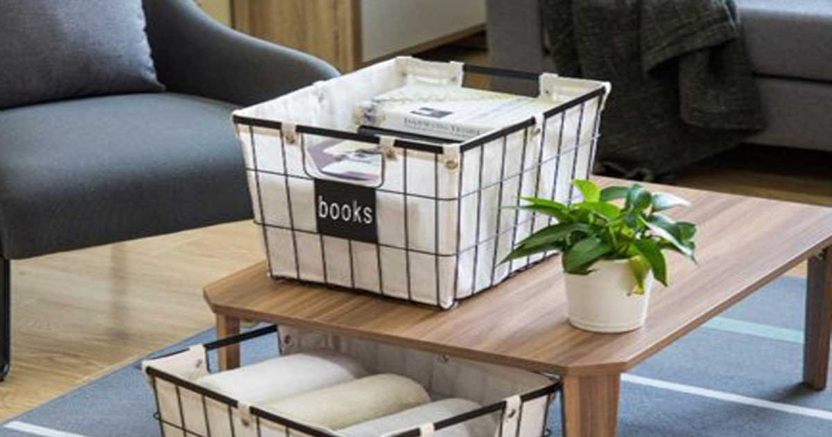 Wire Basket with books on Coffee table