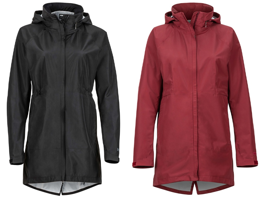 black and red womens long rain jackets