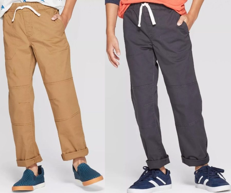 boys wearing pull on cargo style pants