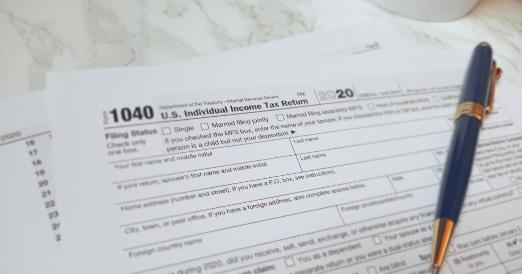 2020 tax forms with pen