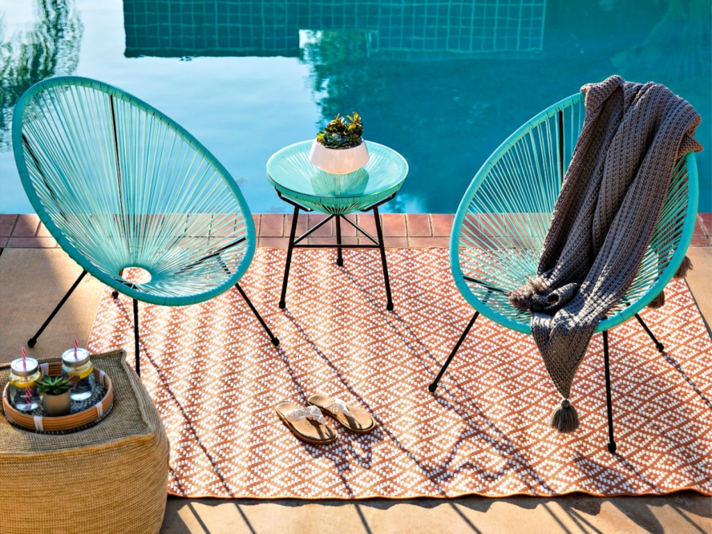 3-Piece All-Weather Patio Acapulco Bistro Set with Rope on pool deck