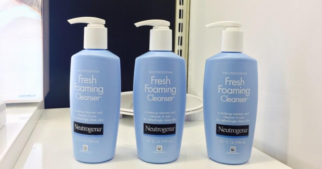 3 neutrogena foaming wash on counter