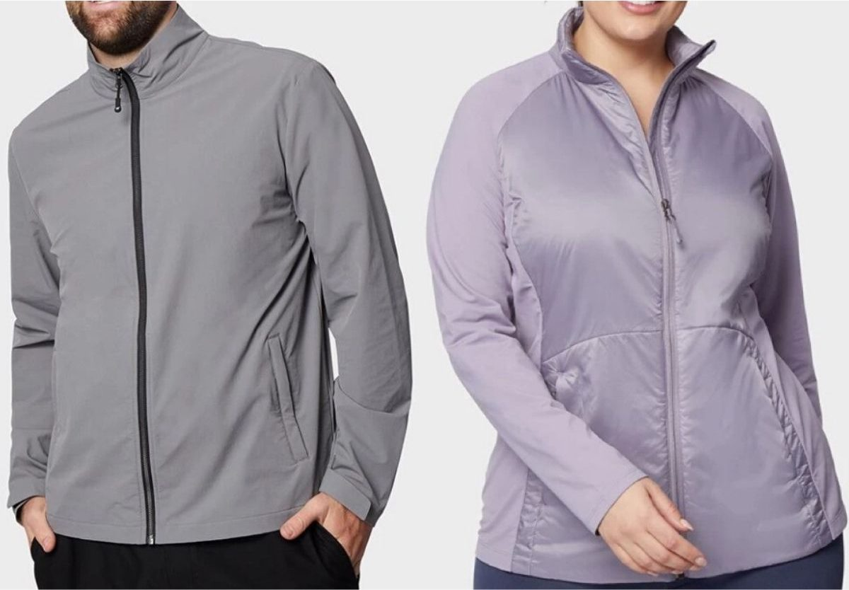 man and woman's torsos wearing spring jackets