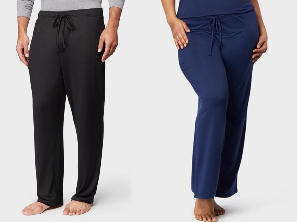man wearing black pants and woman wearing blue pants