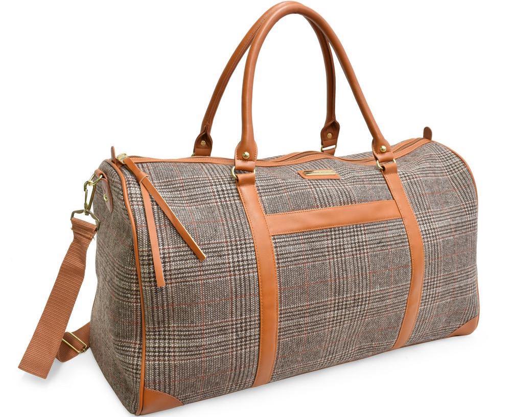 tan and grey weekender bag