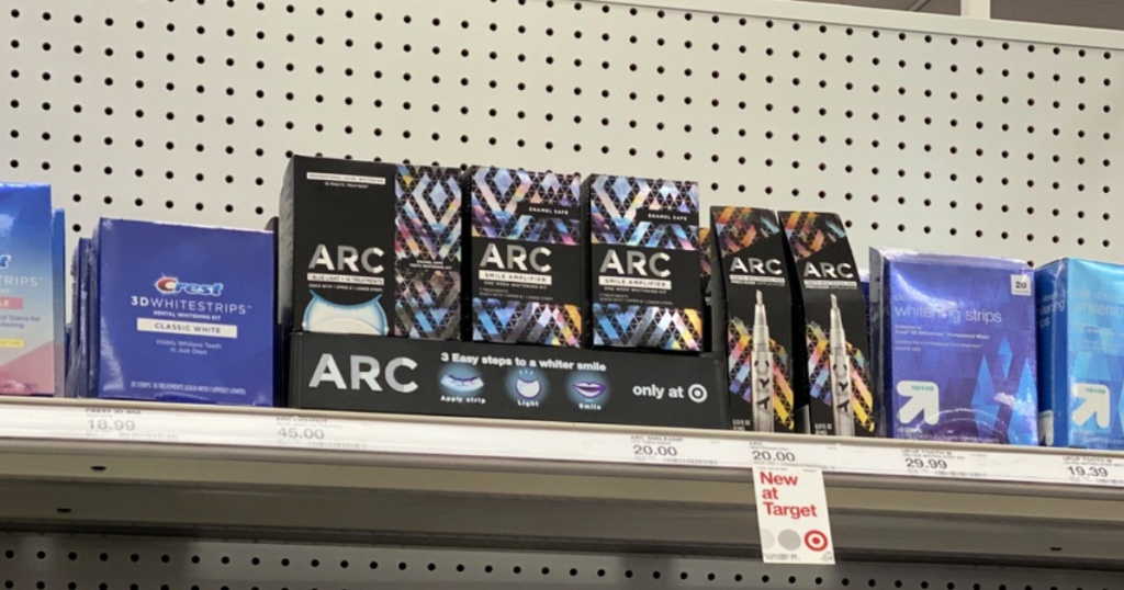 target shelf with arc teeth whitening items
