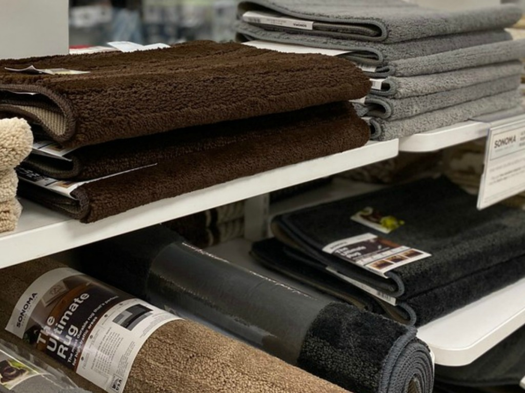 Accent rugs on the shelves at Kohl's