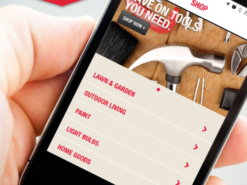 Hand holding ace hardware app on smartphone