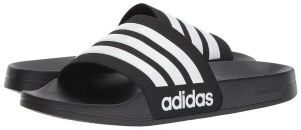 men's black and white logo slide sandals