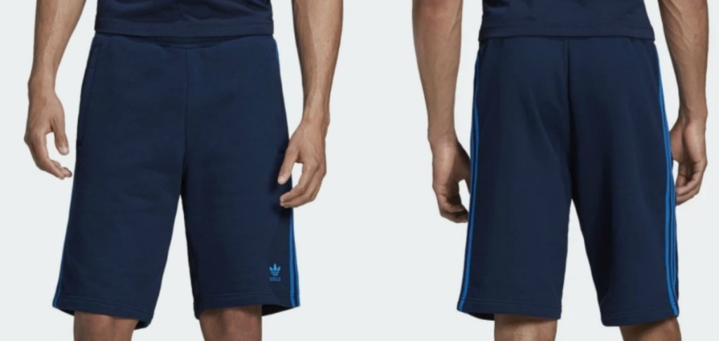 Front and back view of a man wearing blue athletic shorts