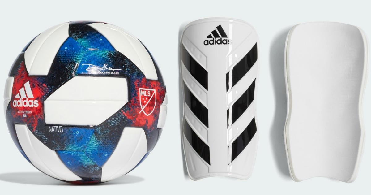 Adidas Soccer ball and shin guards