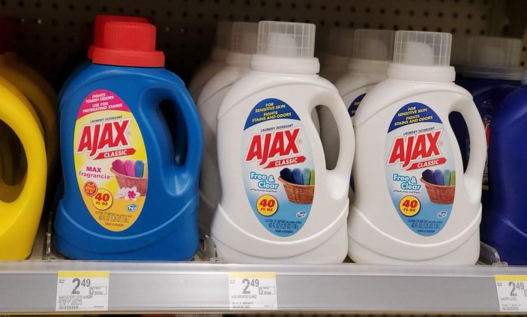 Ajax Laundry Detergents on shelf at Walgreens