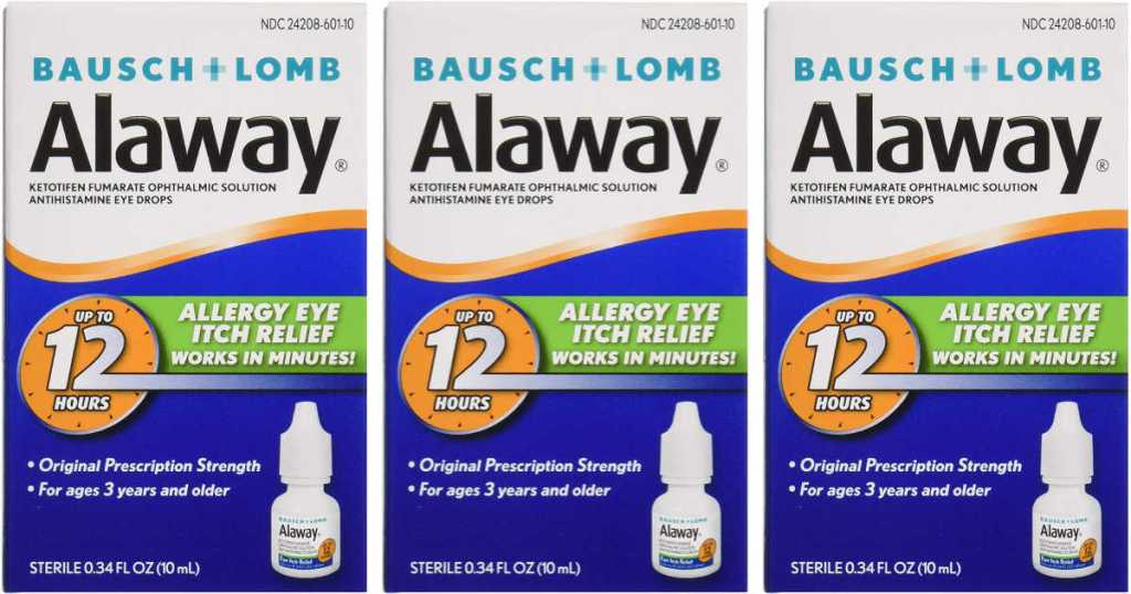 three bottles of Alaway Antihistamine Eye Drops