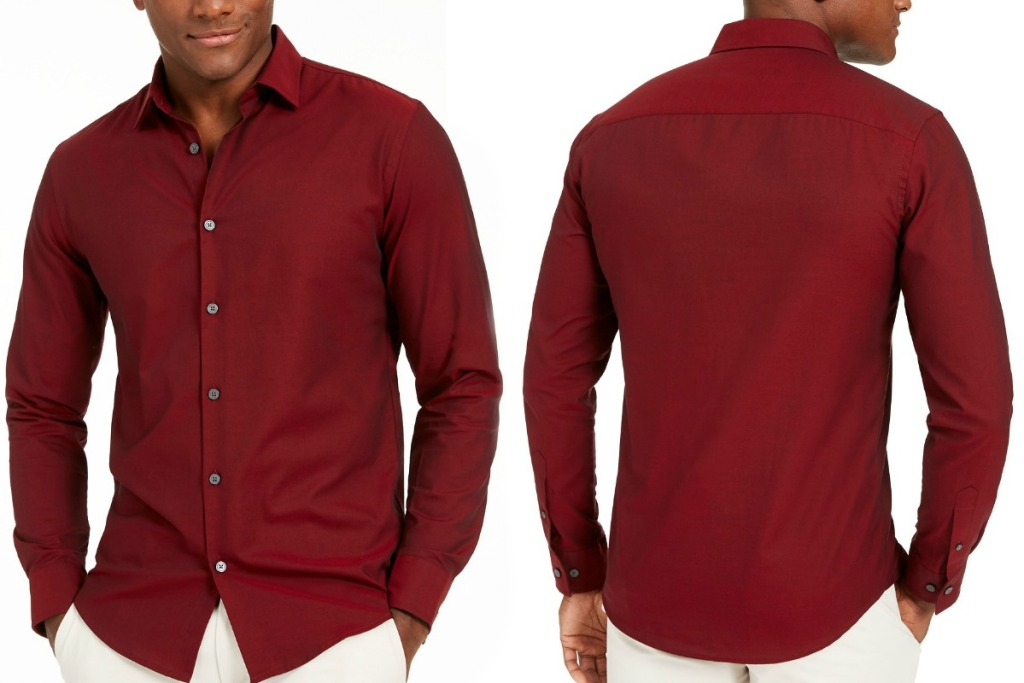 Man wearing a burgundy button up shirt - front and back view