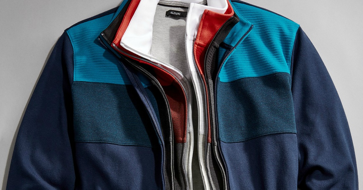 Stack of men's jackets in a variety of colors