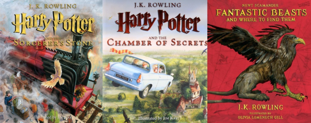 three Harry Potter illustrated books covers