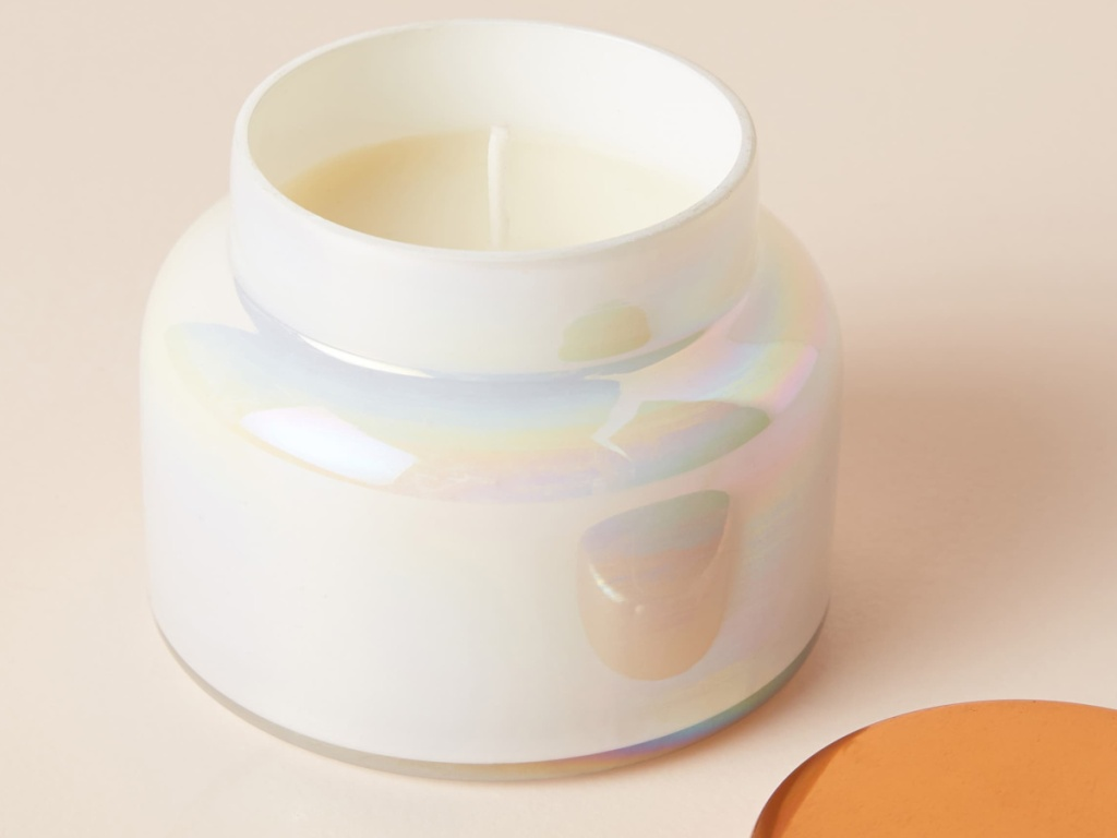 Anthropologie candle in shiny white jar