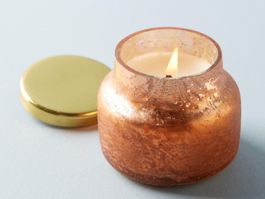 Anthropologie Pumpkin Mini Jar Candle in gold jar