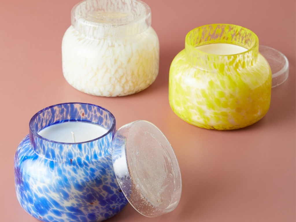 Anthropologie Blue white and yellow Confetti Jar Candles