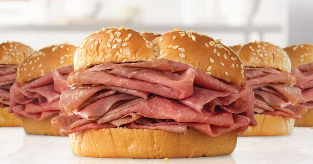 five arby's beef sandwiches