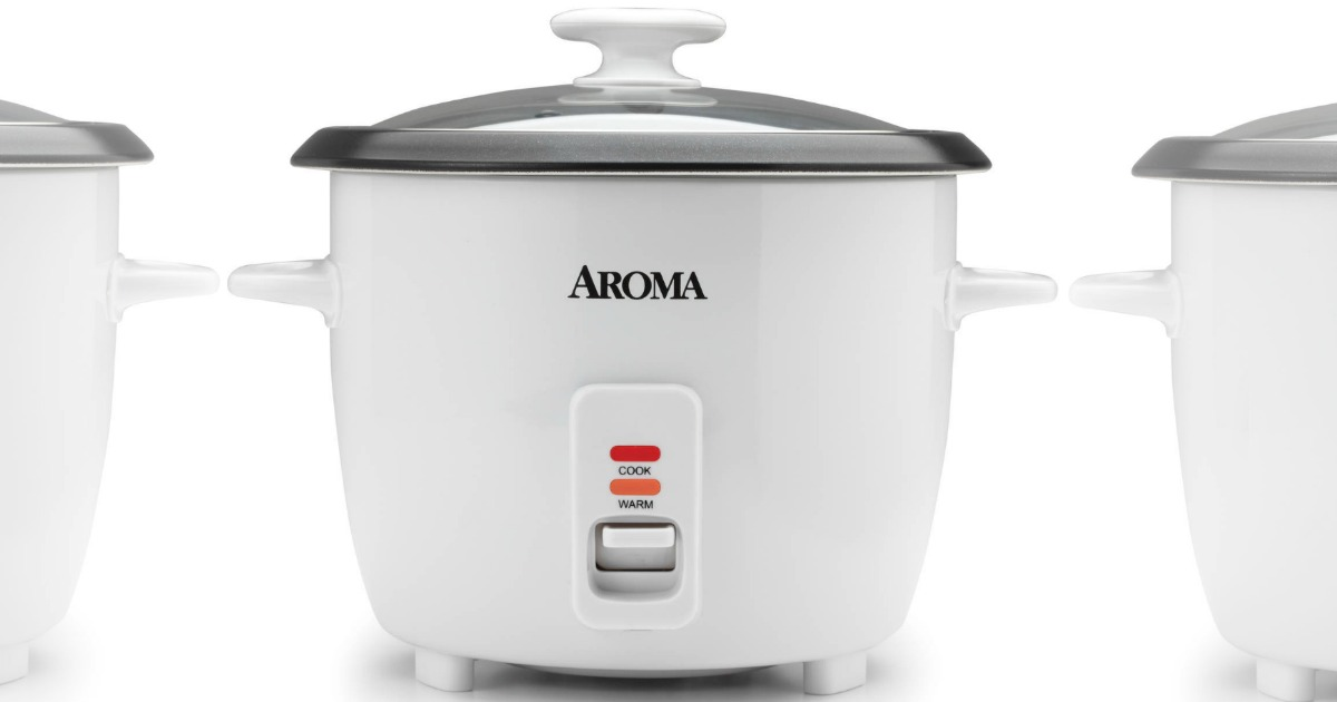 Front view of a small rice steaming appliance